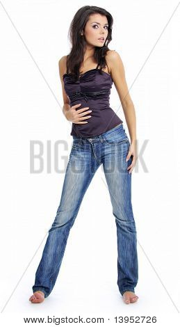Schöne Mädchen in Blue jeans