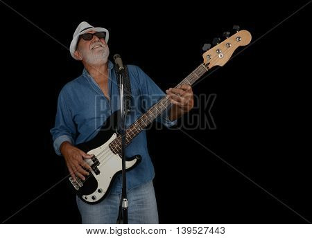 Los Angeles,California USA. july 16th 2016 A dramatic Nice studio Image Of a Senior Bass Player