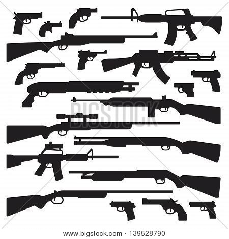 Guns rifles shotguns handguns assault rifles and other general guns silhouettes.