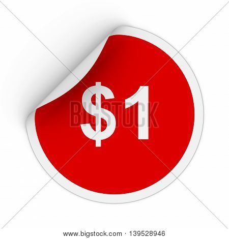 $1 - One Dollar Red Circle Sticker With Peeling Corner 3D Illustration