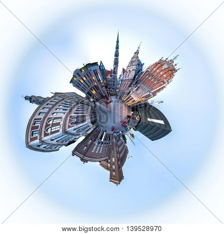 360 degree Skyline view of Riga old town Dome Square During Dawn time. Montage from 47 HDR images