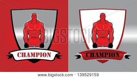 Fighter Bodybuilder. Masculine.Muscular man. Sportsman character. Sport Fitness club creative concept. Fighting Club icon concept.