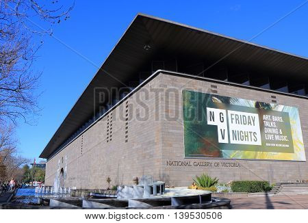 MELBOURNE AUSTRALIA - JULY 16, 2016: Unidentified people visit National Gallery of Victoria. National Gallery of Victoria know as NGV is the oldest art museum in Australia founded in 1861.