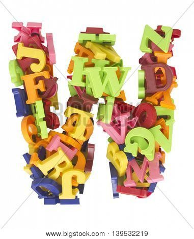 the letter W made from a lot of Magnetic letters