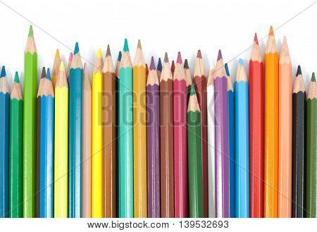 muti colors pencils set on white background