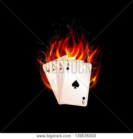 Illustration of Aces in fire on a black background