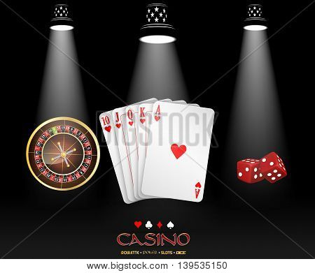 Spotlight casino design with cards, roulette wheel and dices