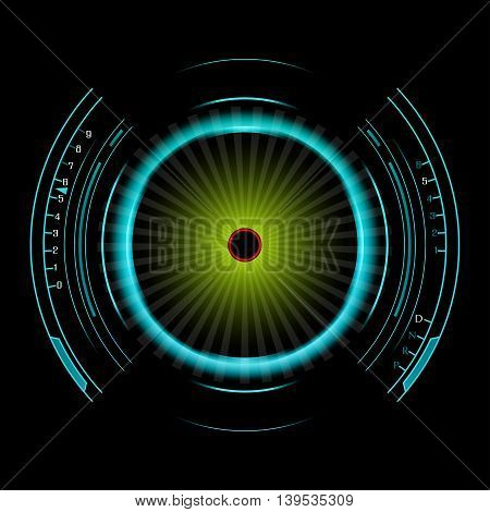 Illustration of Speedometer background isolated on black