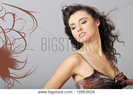 portrait of a sexy woman, hairstyle and makeup