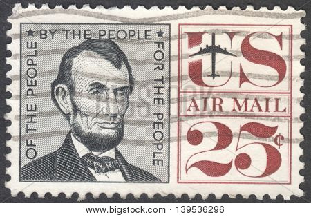MOSCOW RUSSIA - JANUARY 2016: a post stamp printed in the USA shows a portrait of the President Abraham Lincoln (1809-1865) circa 1959