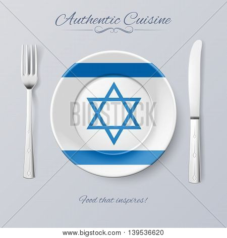 Authentic Cuisine of Israel. Plate with Israeli Flag and Cutlery