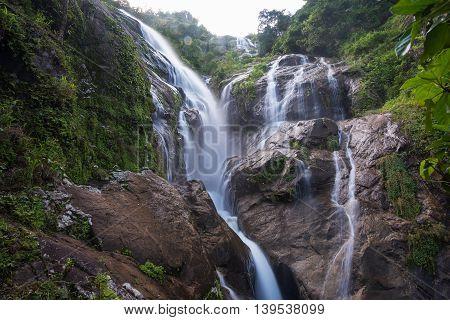 Pre To Lo Su or Pi Tu Kro waterfall (Heart-shaped waterfall) Umphang Tak ,Thailand.