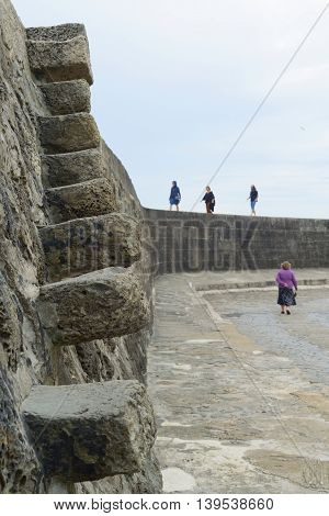 Stone stairs at Cobb in Lyme Regis Dorset