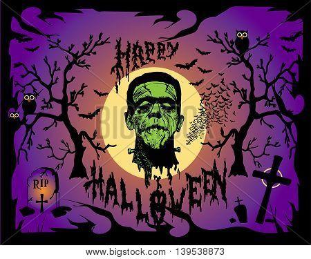 Halloween background vector with Frankenstein head purple color