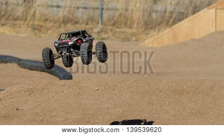 BOISE IDAHO-JULY 16 2016: crawler taking to the air during the Boise Summer blast points race