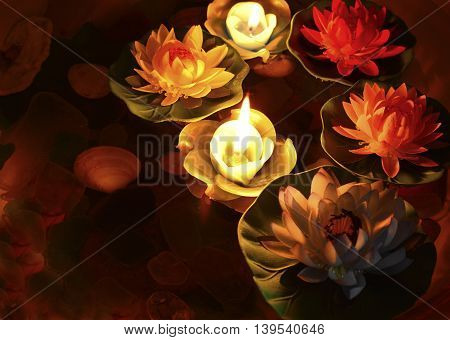 Lotus flower and burning candles floating on water
