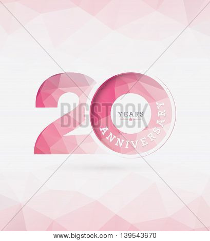 20th Years Anniversary Celebration Design in Abstract Polygon Background