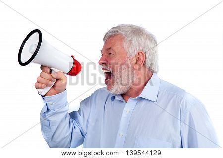 Man shouting with megaphone isolated on white background