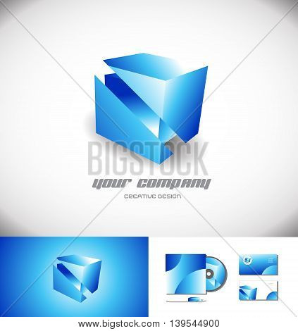 Vector company logo icon element template cube 3d blue abstract games media corporate
