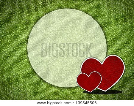 Red hearts on grunge green background with copy space illustration background.