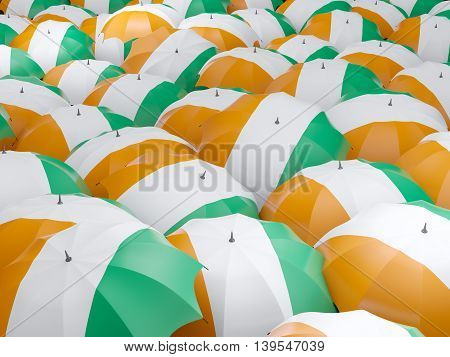 Umbrellas With Flag Of Cote D Ivoire