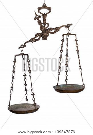 Antique rusty balance scale isolated on white background. Justice and making decision concept. Uneven odds, not being in balance, one is more important than the other.