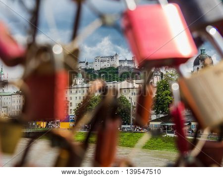 Salzburg castle (Festung Hohensalzburg) look through the key at Makart Steg bridge