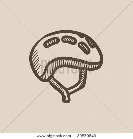 Bicycle helmet vector sketch icon isolated on background. Hand drawn Bicycle helmet icon. Bicycle helmet sketch icon for infographic, website or app.