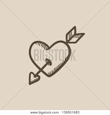 Heart pierced with arrow vector sketch icon isolated on background. Hand drawn Heart pierced with arrow icon. Heart pierced with arrow sketch icon for infographic, website or app.