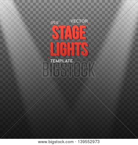 Illustration of Vector EPS10 Bright Light Effect. Transparent Studio Stage Light Effect on Transparent Background