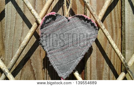 Fabric hand made upcycled rustic hanging heart