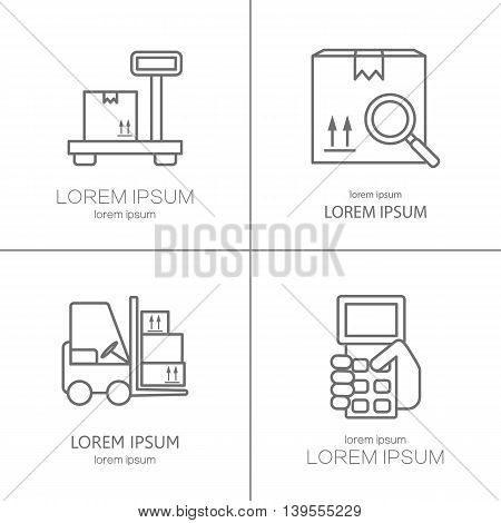 Warehouse stock and industrial storage illustration design templates. Vector design series.