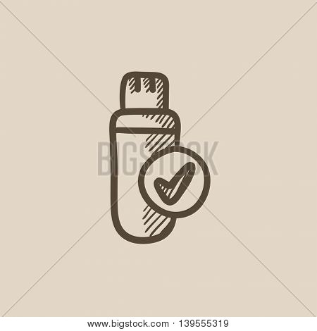 USB flash drive vector sketch icon isolated on background. Hand drawn USB flash drive icon. USB flash drive sketch icon for infographic, website or app.