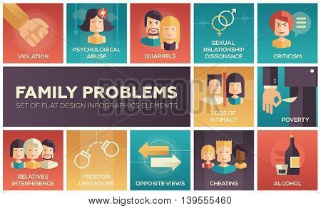 Set of modern vector flat design icons and pictograms of family problems. Violation, psychological abuse, qurrels, poverty, alcohol, criticism, loss of intimacy, relatives interference, cheating