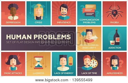 Set of modern vector flat design icons and pictograms of common human psychological problems. Crisis, impatience, depression, panic attacs, insecurity, phobia, addictions, aimlessness, laziness, energy, time lack