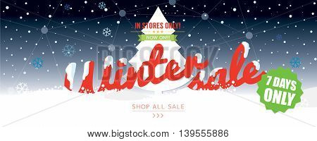 Winter Sale 50 Percent 6234x2500 px Wide Banner Vector Illustration. EPS 10