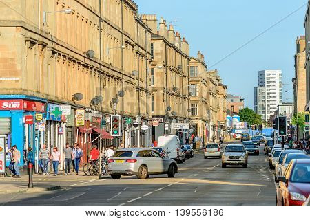 GLASGOW SCOTLAND - JULY 21 2016: Argyle Street Finnieston in the west-end of Glasgow.