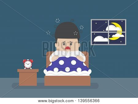 Businessman Is Wide Awake In Middle Of Night