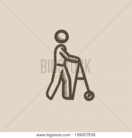 Man with walker vector sketch icon isolated on background. Hand drawn Man with walker icon. Man with walker sketch icon for infographic, website or app.