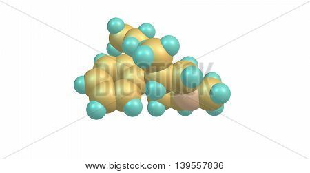 Prodine - Prisilidine - molecular structure. It is an opioid analgesic that is an analog of pethidine. 3d illustration