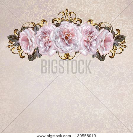 Flower garlands of pastel pink roses. Golden weaving delicate composition old style. Lace openwork weaving delicate frame. Vintage postcard.