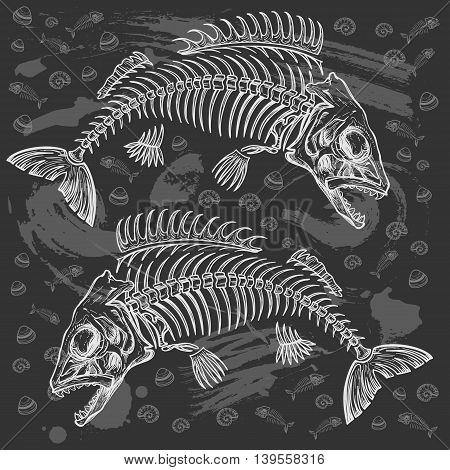 hand drawn fish skeleton sketch vector illustration