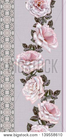 Pattern seamless. Old style. Fine weaving mosaic. Lace curls of the pearls. Vintage background. Verticall floral border.Garland of pale pink and pastel roses.