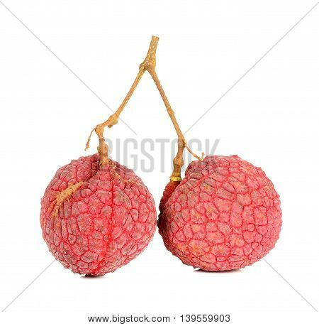 Lychee Or Litchi Isolated On The White Background