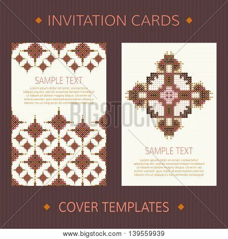 Set of two vector cards. Ethnic design vector template. Invitation template cards. Vector card template with halftone ornament. Dotted invitation templates. Vector templates for book or album cover.