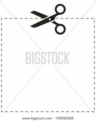 Scissors square cut line cutter cutting dash design dotted