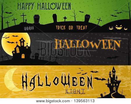 Three Halloween landscape banners. Green, dark and orange designs. Can be use on web, print. As invitation, flyer card, halloween poster. Creepy design for celebration holiday. Vector illustration.