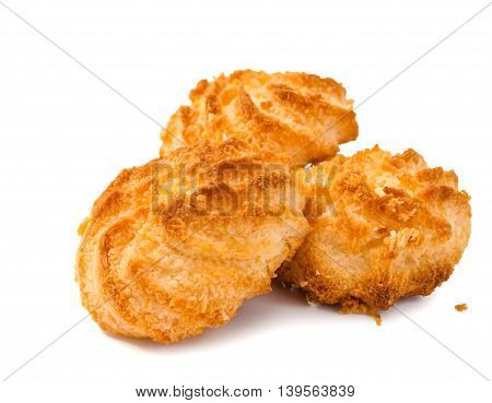 Desiccated coconut biscuits on isolated white background