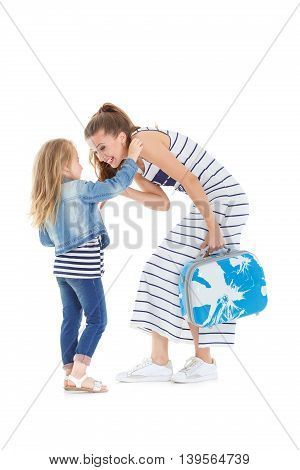 Woman And Child With A Suitcase