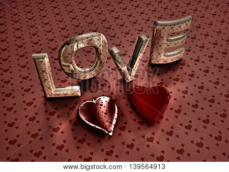 Dimensional inscription of LOVE and hearts near it. 3D rendering.